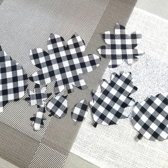 Buffalo  plaid  leaf cut outs